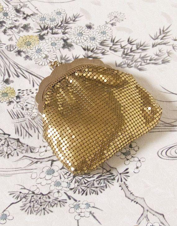 Vintage Mid Century Original GloMesh Gold Coin Purse