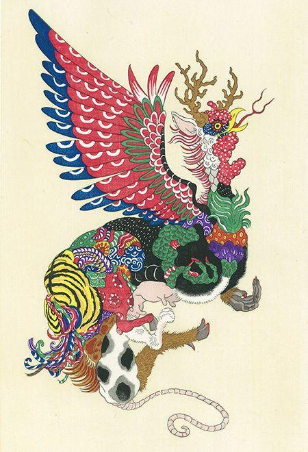 鶏の頭に、虎の背中や犬の足、蛇の舌に馬のたてがみ……様々な動物の要素が合体した、この奇妙な生き物はいったい何なのでしょうか? ちょっとグロテスクですが、まるで神話の中に登場する神獣のようにも見えます。[gallery columns=