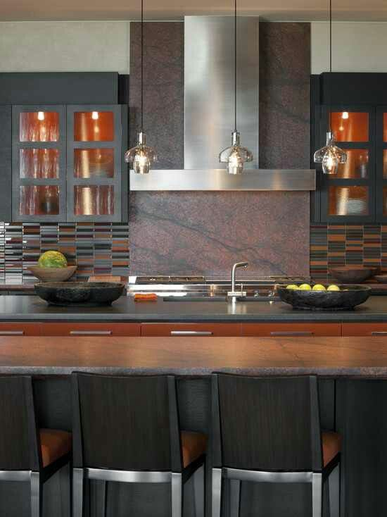 122 best images about big beautiful kitchens on pinterest for Burnt orange kitchen cabinets