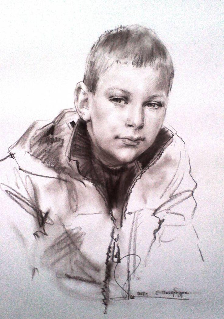 © Алексей Точин 'Портрет мальчика в куртке.' Бумага/сепия