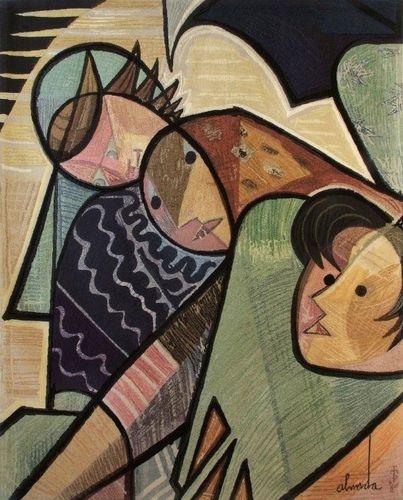Fisherwoman, tapestry - Jose de Almada-Negreiros. Note: color palette.