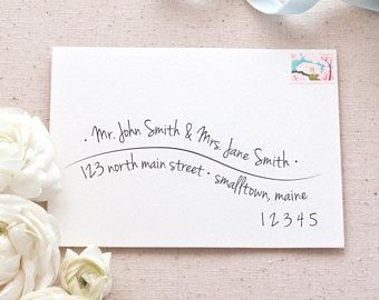 Printable Envelope Address Template | Hand-Lettered Wave A7 Envelope Addressing Template for Wedding Invitations and Announcements