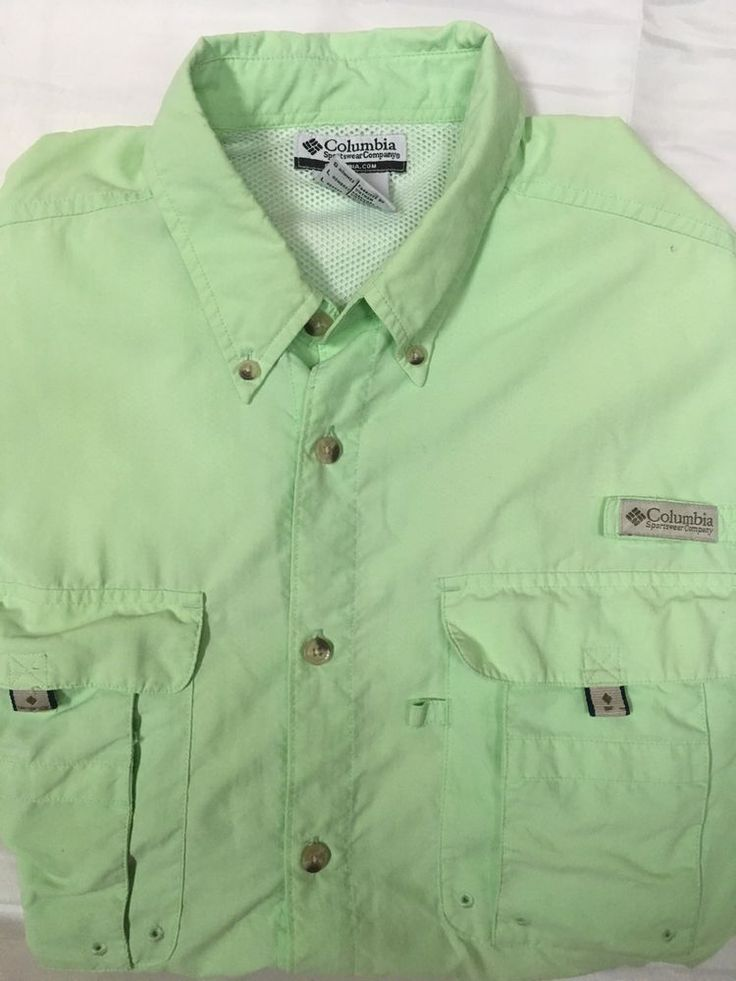 COLUMBIA PFG Shirt Vented Short Sleeve Mens Size Large Performance Fishing Gear #Columbia