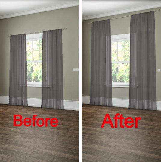 how to hang your curtains to give the illusion of larger windows - Hanging Drapery