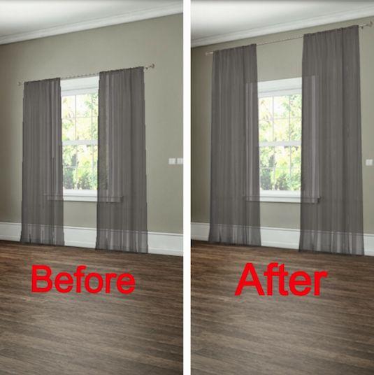 # 12. Cómo colgar las cortinas para dar la ilusión de ventanas más grandes. - Fácil 27 proyectos de remodelación que transformará completamente su hogar