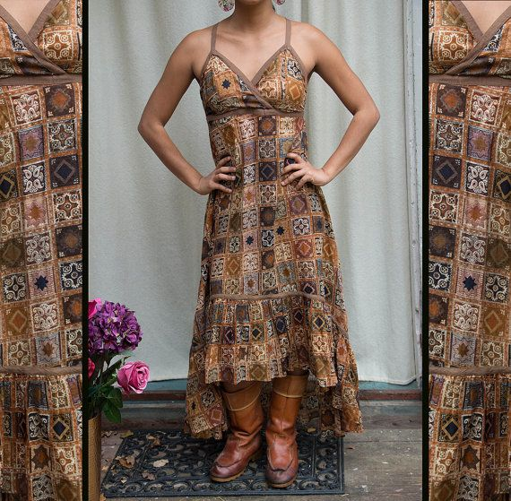 AGAVE DRESS - Bohemian Hippie Maxi elegante ballo Matrimonio Partito Burning man maternità Plus size Gypsy etnico geometrico - marrone Patchwork