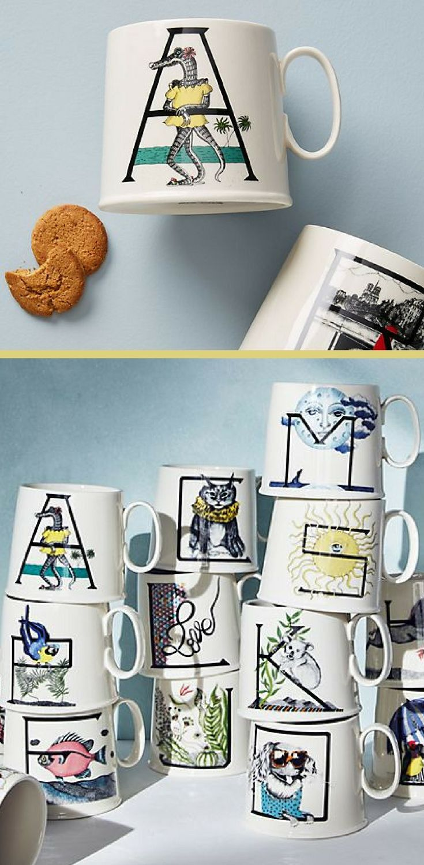 Love Animal Alphabet Monogram Mug Personalized Coffee Mug Home