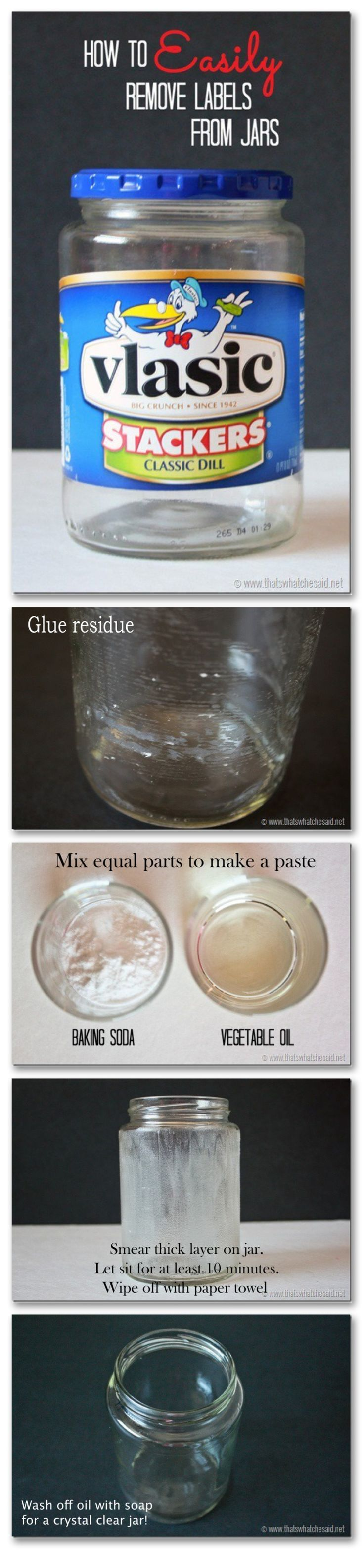 How to remove labels from glass jars