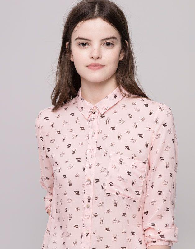 Pull&Bear - femme - blouses et chemises - chemise imprimée - rose - 09471324-I2015