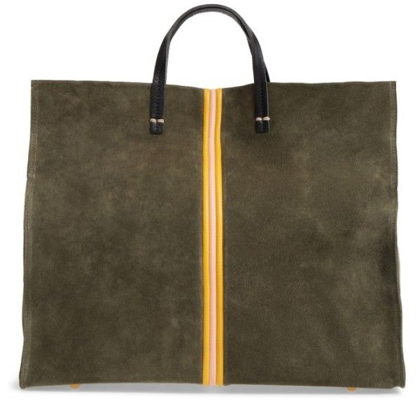 Women's Clare V. Simple Stripe Suede Tote ($495) ❤ liked on Polyvore featuring bags, handbags, tote bags, army suede, handbags totes, striped tote bags, tote handbags, suede tote bag and brown suede purse
