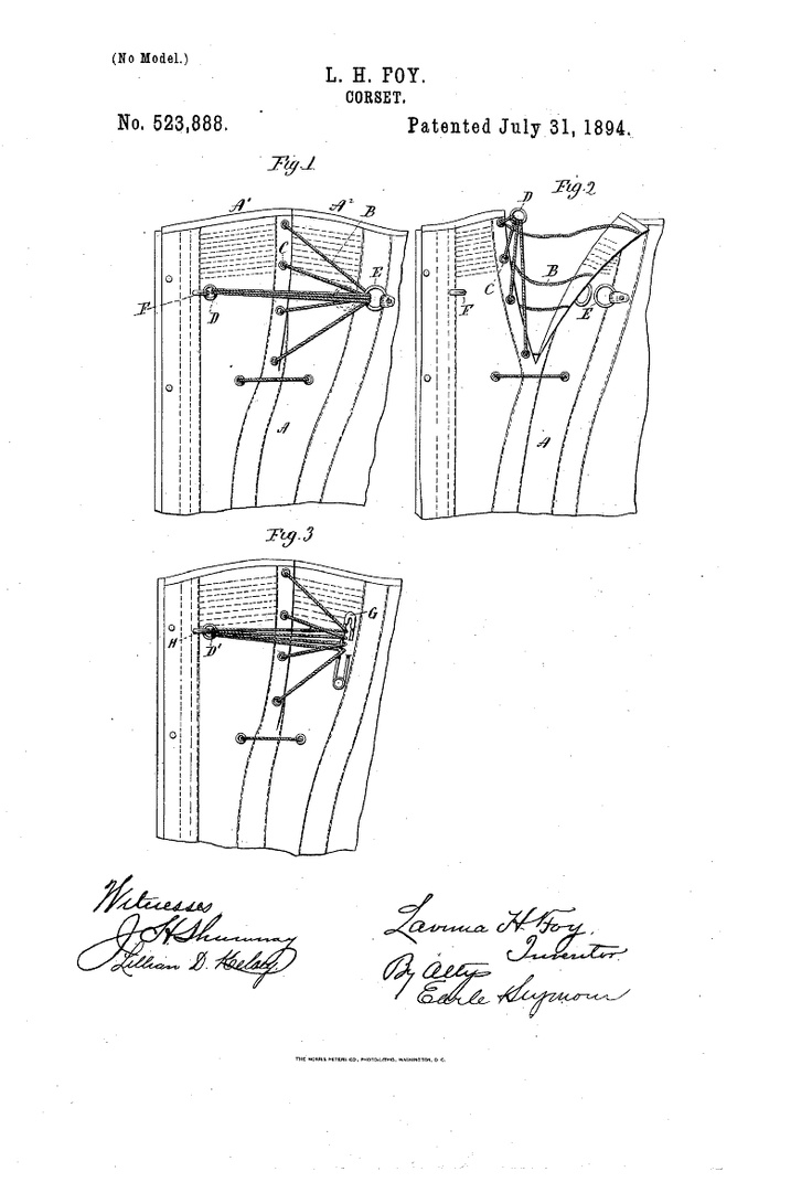 Google Patent Search; Patent number: 523888; Issue date: Jul 31, 1894; Details of closure for nursing corset bust flap.