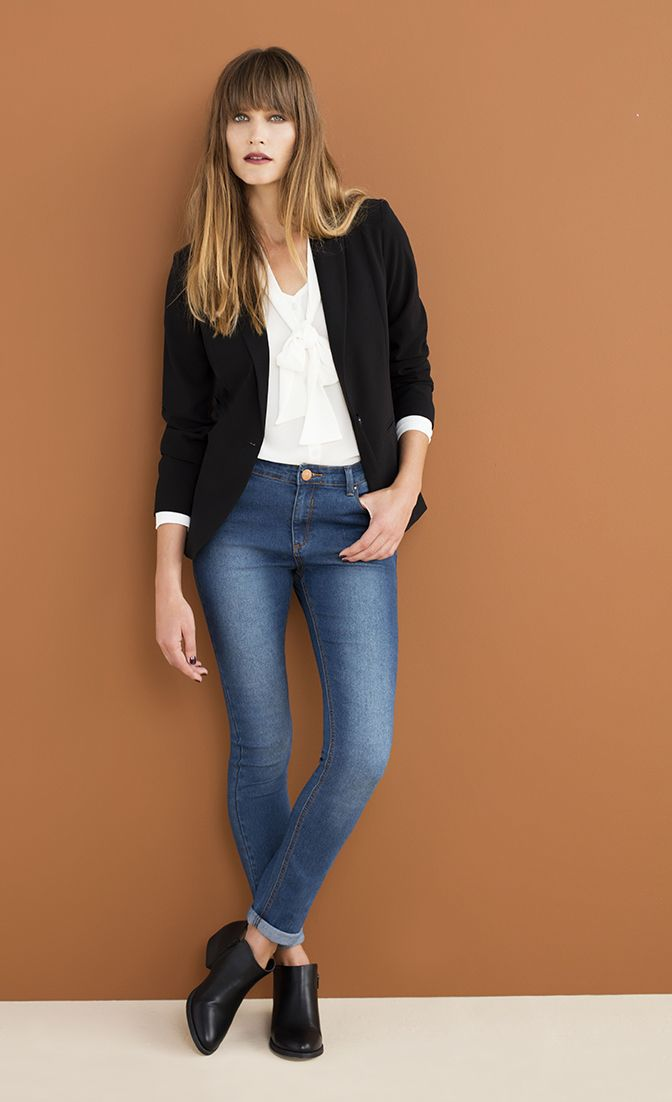 Our absolute all time favourite classic, the blazer, romantic blouse and slim fit denims. Simple perfection.
