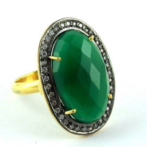 Big Excellent Green Onyx, White CZ 925 Sterling Silver RingARCT1109-8 #Handmade