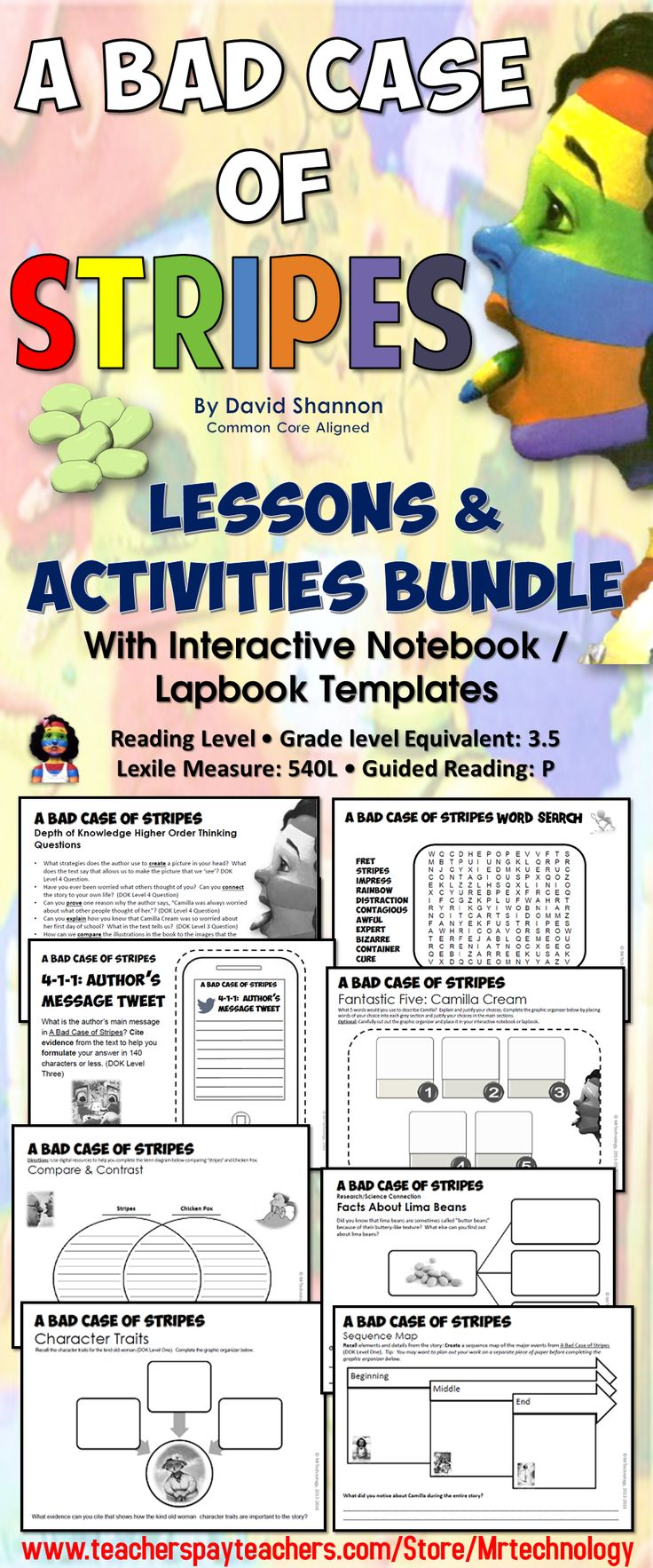 worksheet A Bad Case Of Stripes Worksheets 1000 ideas about david shannon on pinterest no a bad case of stripes by reading lessons activities bundle this product