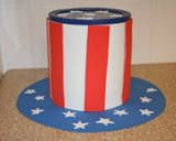 Patriotic Hat Craft - This fun coffee can craft makes a wonderful tabletop decoration if you fill it with flowers and flags, or it can even be filled with treats and given as a gift.