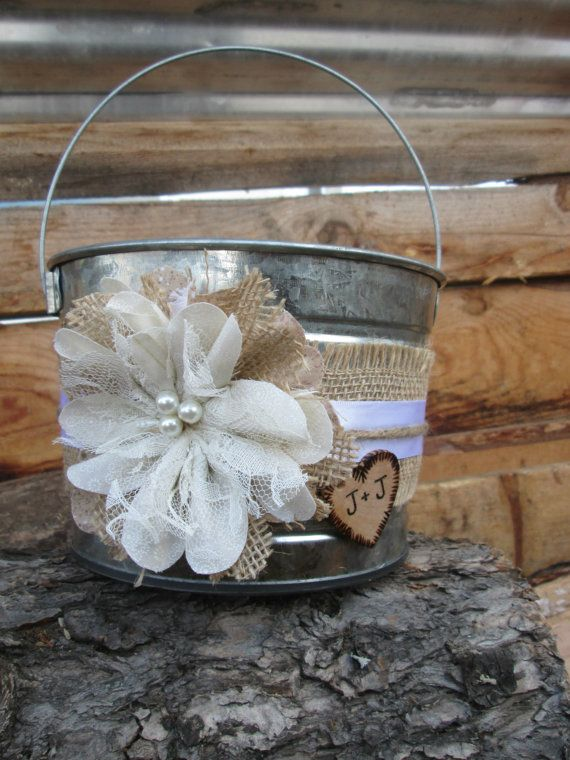 Personalized Flower Girl Bucket Burlap and by MyMontanaHomestead
