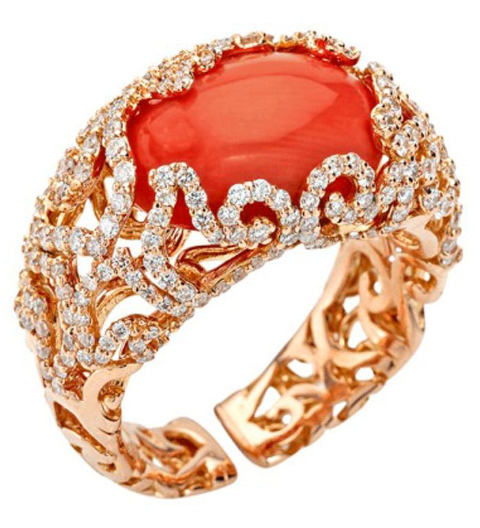 Chantecler of Capri Red Coral and Diamond Ring