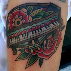Color Flowers And Piano Tattoo