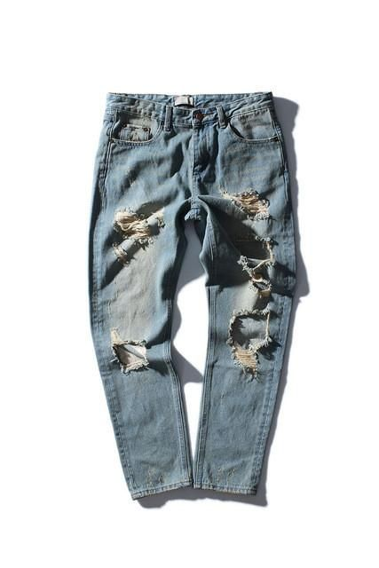 Aolamegs Men Jeans Destroyed Hole Jean Pants Fashion Design Striped Printing Jeans 2016 Autumn Winter Distressed Denim Trousers