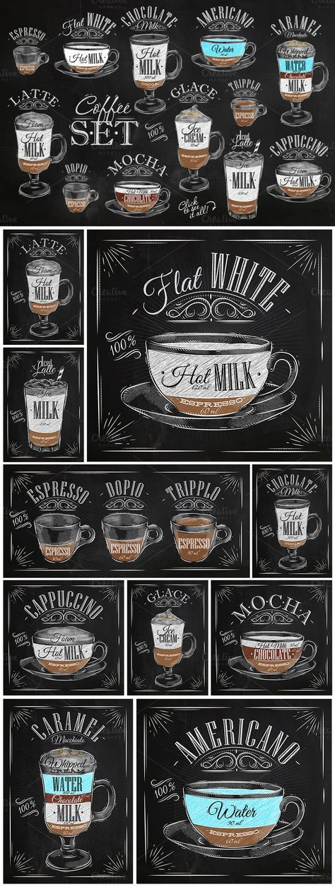 Set Coffee: Set of coffee drinks with names, drawing in vintage style on different background (chalk on a blackboard, on white dirty paper and kraft background).