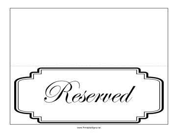 this fancy reserved sign can be used for restaurant tables. Black Bedroom Furniture Sets. Home Design Ideas