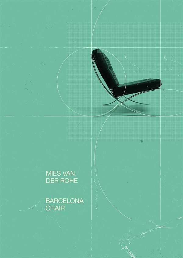 The Barcelona chair by Mies Van Der Rohe. Advertisement.