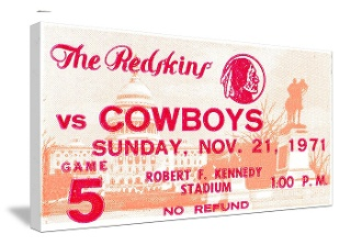 Dallas Cowboys football ticket art on canvas made from an authentic 1971 Dallas vs. Washington football ticket. Great for a game room or office! The best football gifts are at http://www.shop.47straightposters.com/1971-Dallas-vs-Washington-football-ticket-art-71DA-WASH.htm
