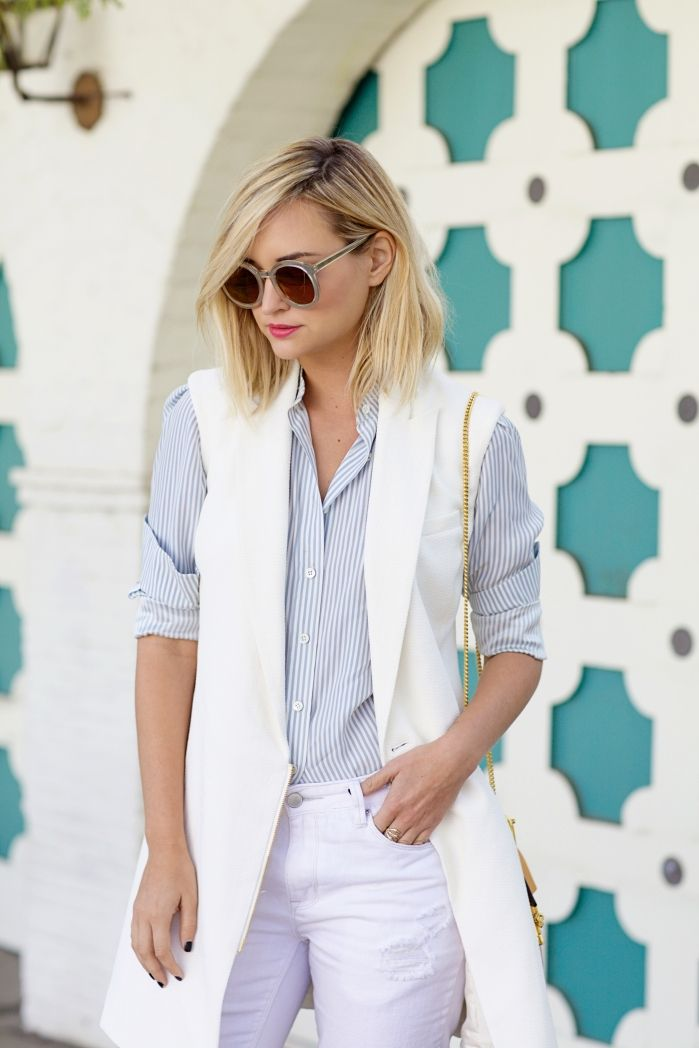menswear inspired spring outfit with white vest