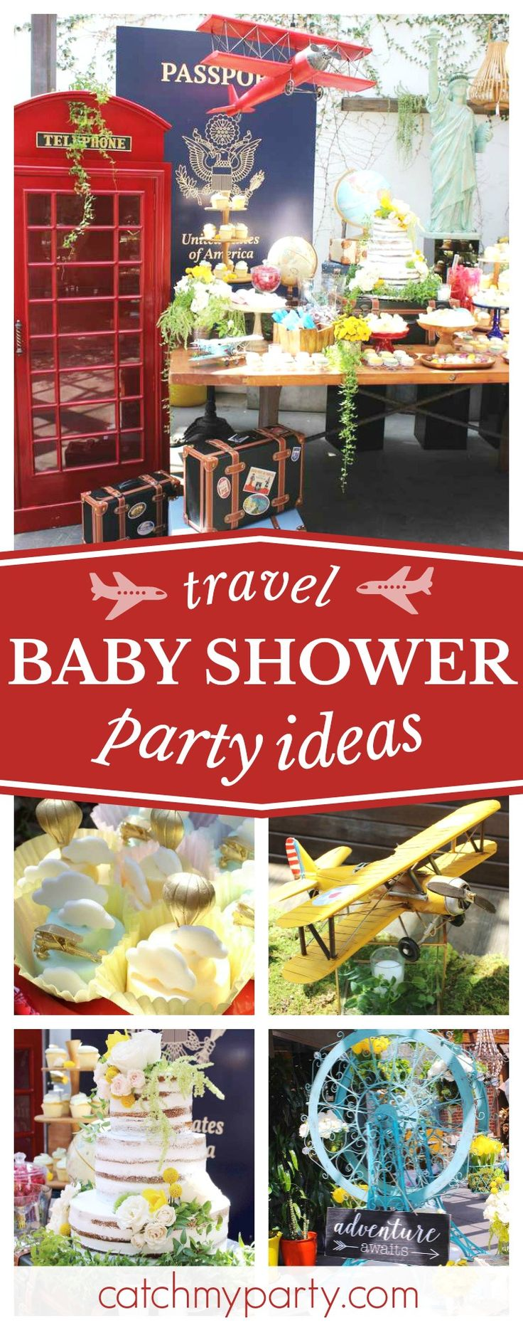 'Oh Baby, the places you'll go...' You really don't want to miss this fantastic travel themed baby shower. The dessert table and decor are amazing!! See more party ideas and share yours at CatchMyParty.com