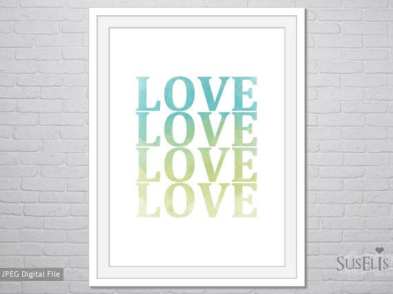 Love wall art Watercolor Print Blue Green print 8x10 by Suselis