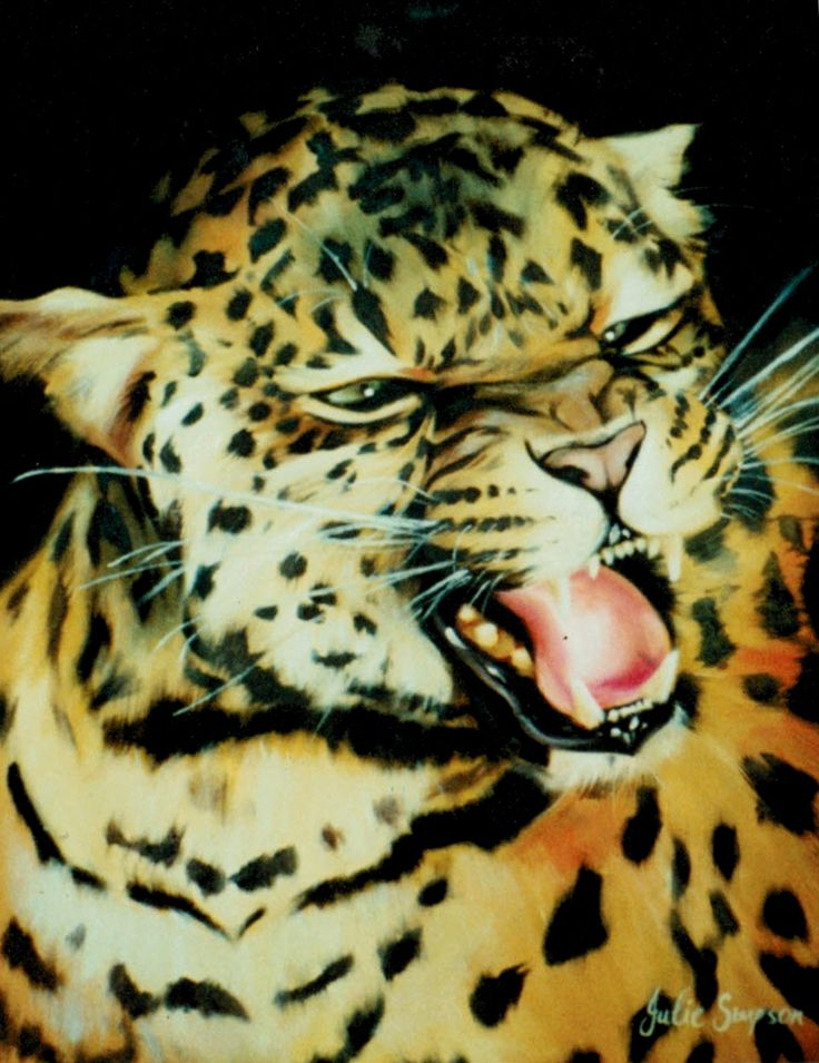 Growling Leopard - Oil Painting by Julie Sneeden