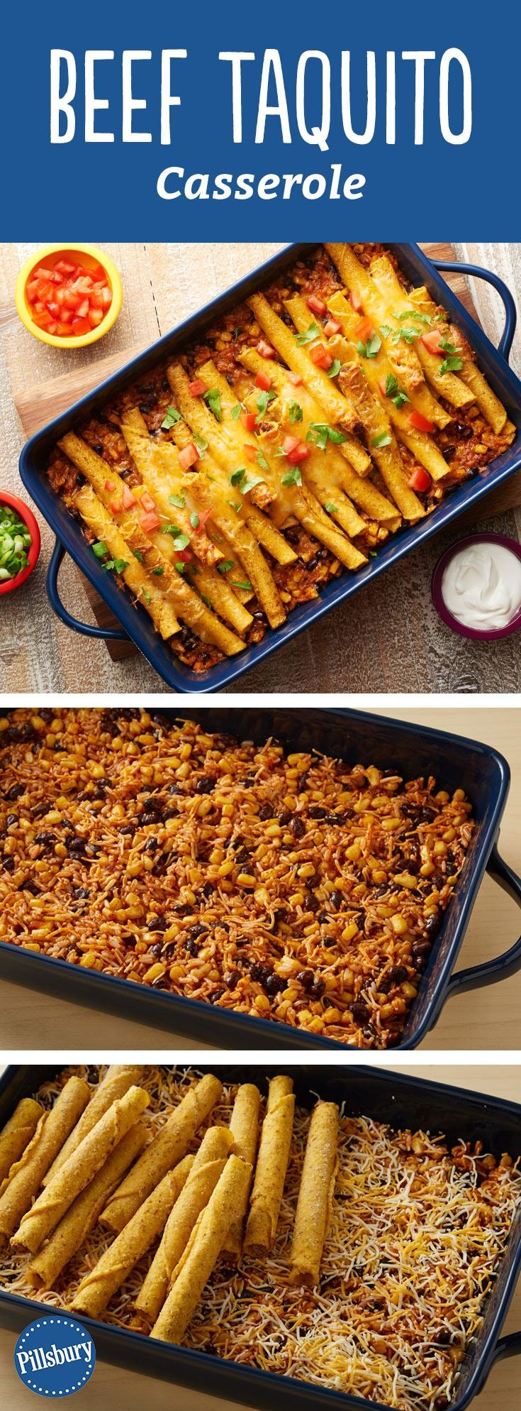 Frozen beef taquitos are the perfect topper for this flavorful, veggie-packed Southwestern casserole. Serve with all your favorite fresh toppings, like cilantro, diced tomatoes green onions, and salsa, sour cream or even guacamole. Expert tip: If your family prefers chicken instead, sub the beef taquitos for the chicken variety.