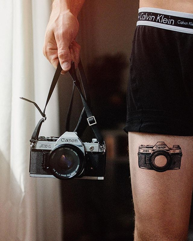 @ni_nooo now that's committed to #filmisnotdead Remember guys tag #silverhalides or #colordyes for a chance to be featured. ・・・ My first tattoo of my very first film camera Amazing artwork done by @arielnirakara over at @newporttattoo!