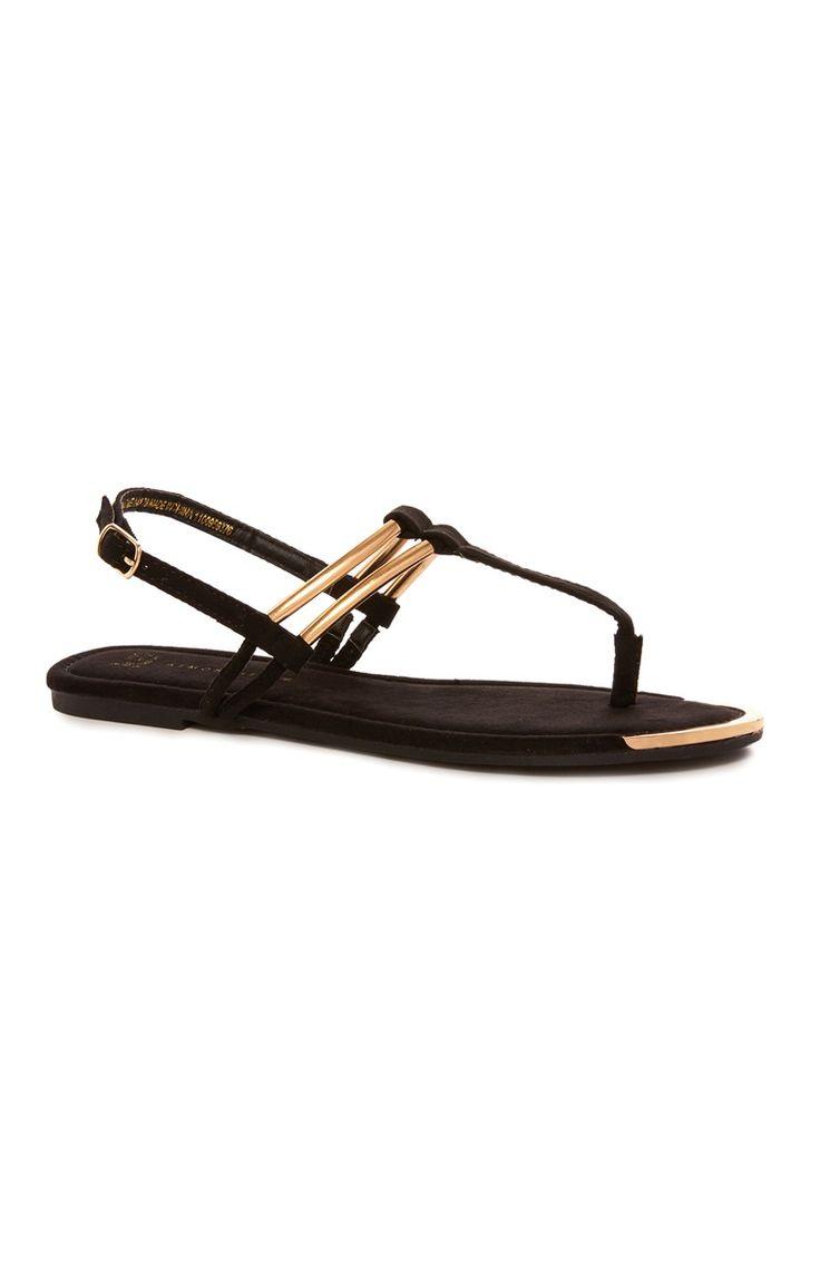 Primark - Zwarte sandaal met metalen accenten