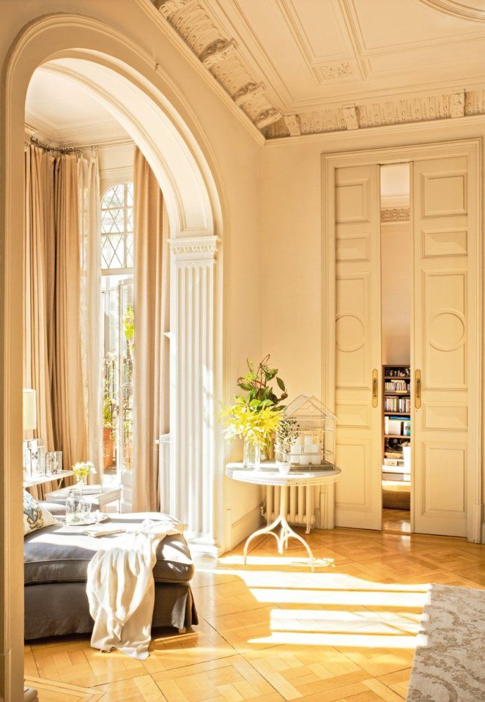 Barcelona Apartment living room sun sunny sun-filled crown molding french doors sliding doors comfy