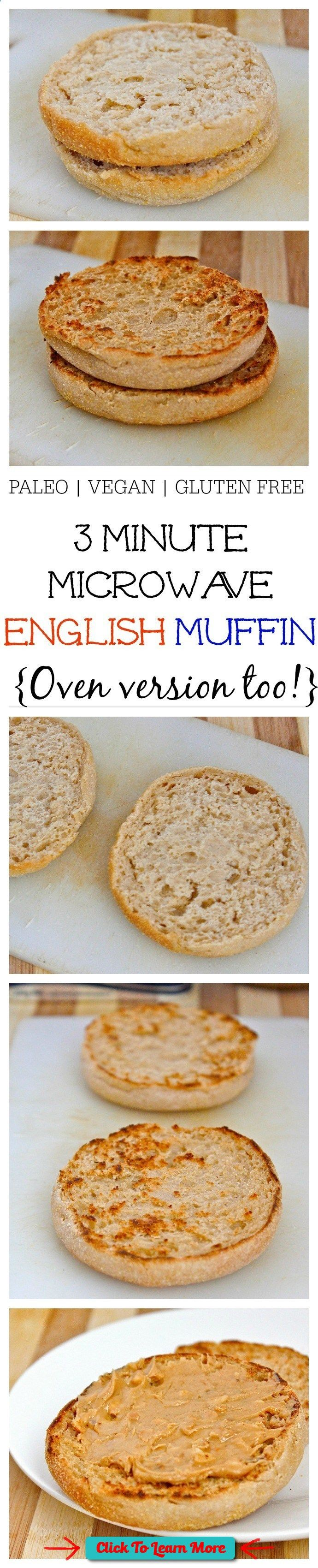 #FastestWayToLoseWeight by EATING, Click to learn more, 3 Minute Microwave English Muffin (Paleo, Vegan AND gluten free!)- Just THREE minutes and a simple ingredient list is needed to whip up this microwave English muffin which is JUST like the real deal! There are three versions- Paleo, Vegan and Gluten Free to suit most dietary lifestyles- For those without a microwave, there is an oven friendly version! Thebigmansworld - thebigmansworld.com , #HealthyRecipes, #FitnessRecipes, #Burn....
