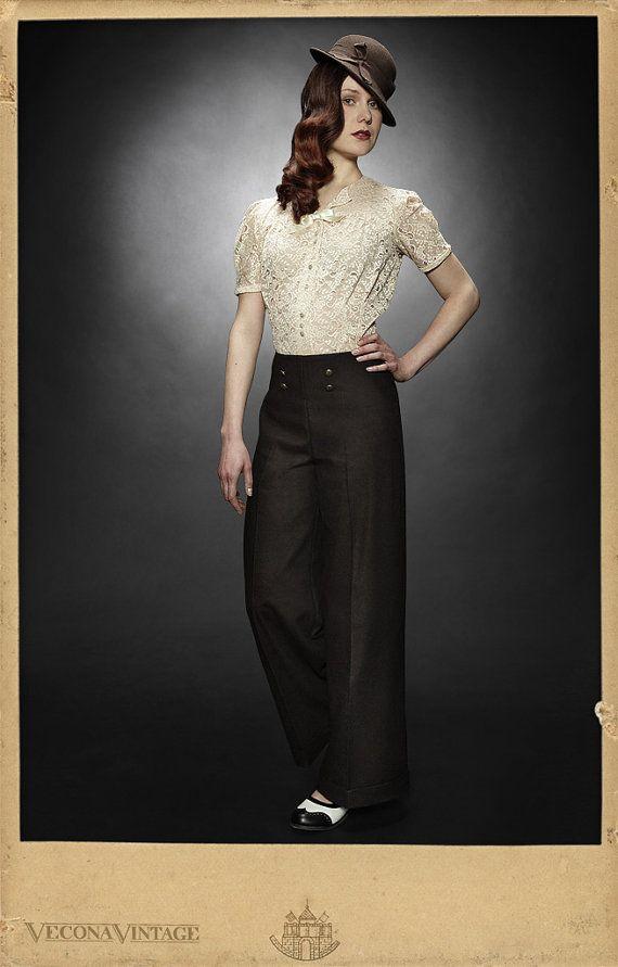 Marlene pants SWEET GEORGIA BROWN wool tweed Vecona Vintage swing lindy hop wide leg trousers. €169.00, via Etsy.