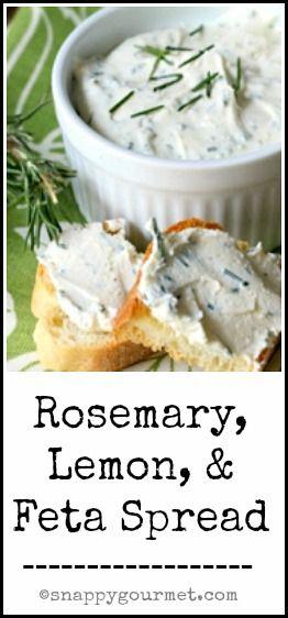 Rosemary, Lemon, & Feta Spread Recipe - delicious snack, appetizer, sandwich spread, & more! snappygourmet.com