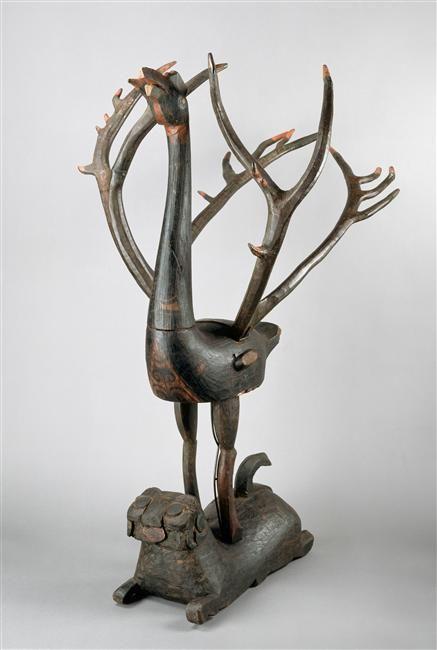 Phénix  Bois, laque, sculpture  Chine, Hubei (C) RMN-Grand Palais (musée Guimet, Paris) / Thierry Ollivier Section Chine du musée Guimet