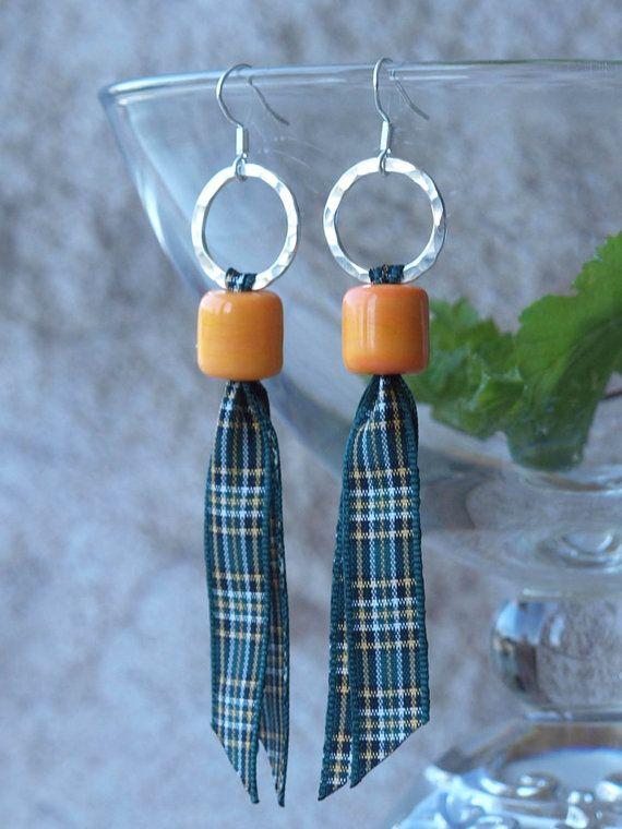tartan earrings Irish tartan earrings by HandmadeEarringsUk