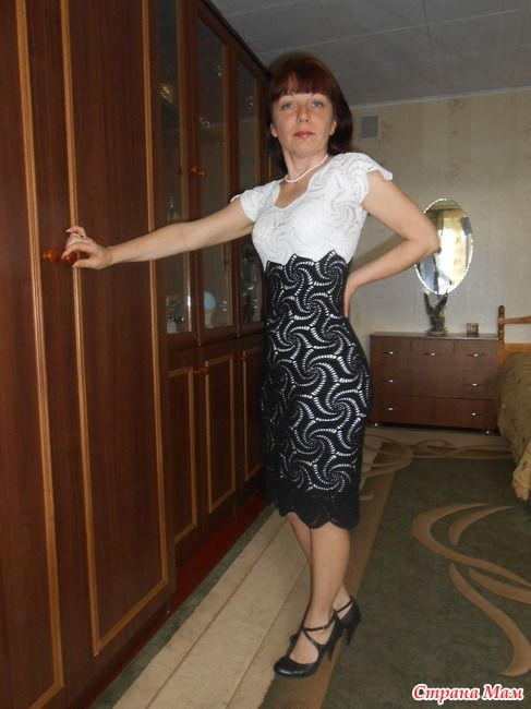 Платье из шестиугольных мотивов Чёрное и белое) - Вяжем вместе он-лайн - Страна Мам