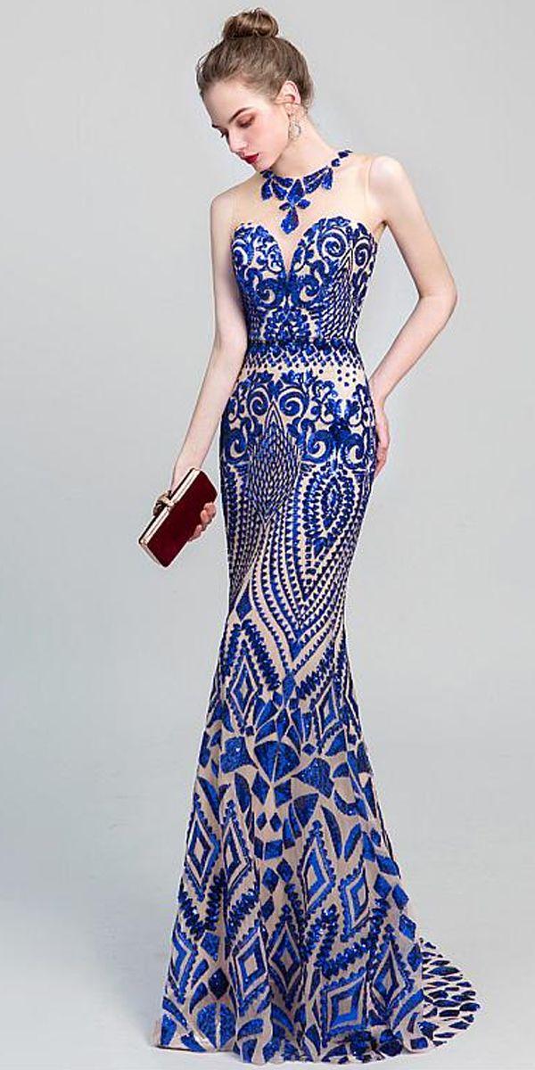 1b66b47fac  118.29  Beautiful Embroidery Lace Jewel Neckline Mermaid Prom Dresses en  2019