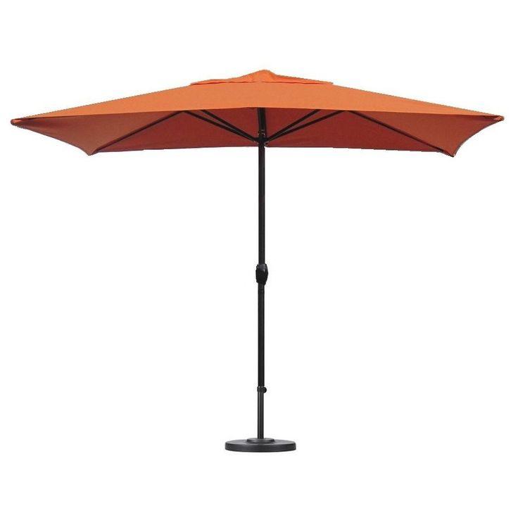 Escada Designs Sunset Orange Rectangular Patio Umbrella With Base (Sunset),  Size 10
