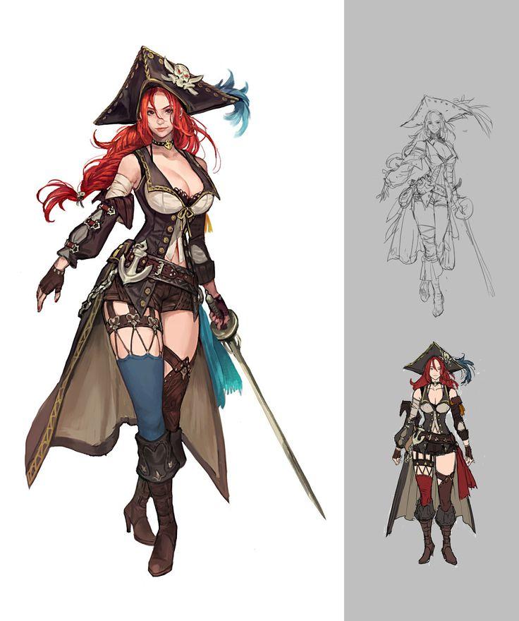 a pirate woman concept., BYUN ARI on ArtStation at https://www.artstation.com/artwork/nZA9O