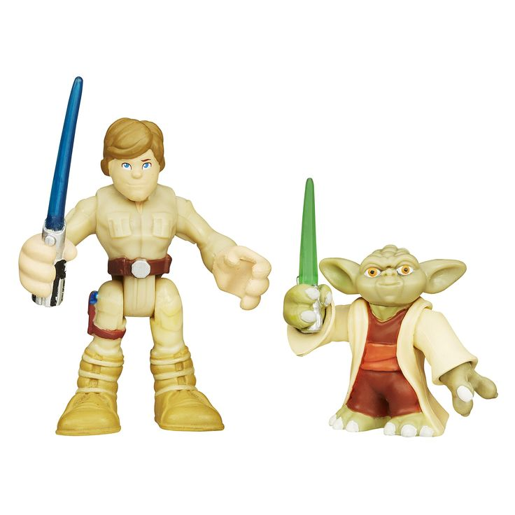 Playskool Heroes Star Wars Galactic Heroes Yoda and Luke Skywalker. Yoda and Luke Skywalker figures sized for small hands. Simple poses for epic adventures. Pretend to train with Luke Skywalker and Yoda figures. Includes 1 Yoda figure and 1 Luke Skywalker figure.