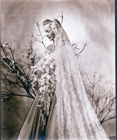 Actress and socialite Dina Merrill, daughter of Marjorie Marjorie Merriweather Post, on her March 23, 1946 wedding to Stanley Rumbough, Jr. After they divorced in 1966 she was married to actor Cliff Robertson 1966-1986, and has been married to CEO of RKO Pictures, Ted Hartley since 1989.