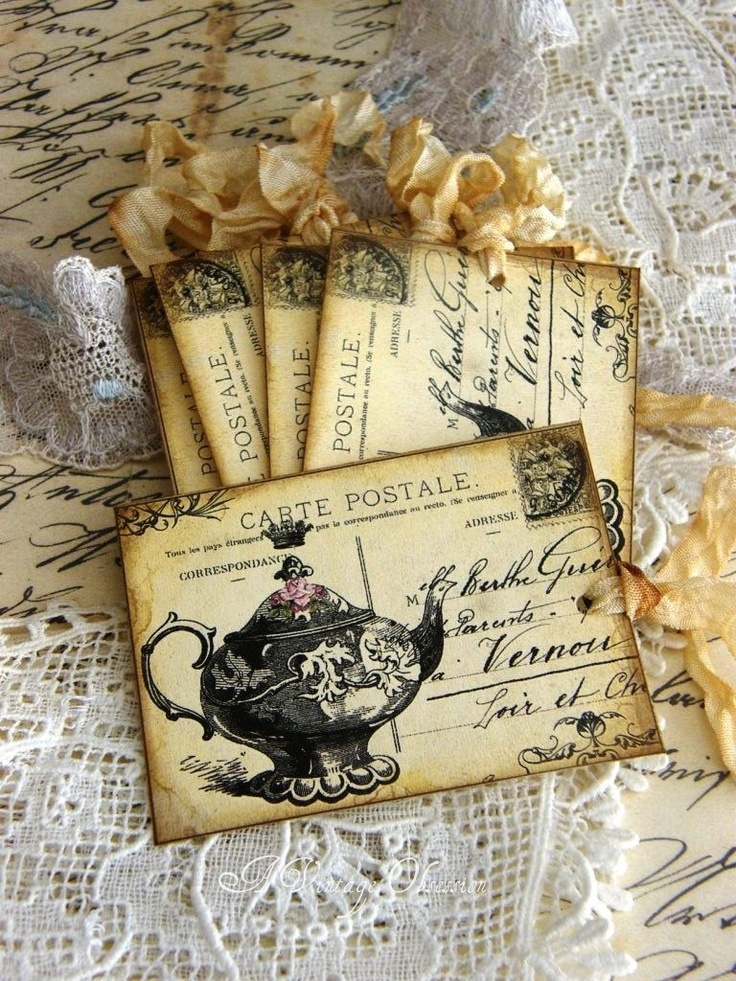 Teapot Gift Tags on Vintage French Postcard