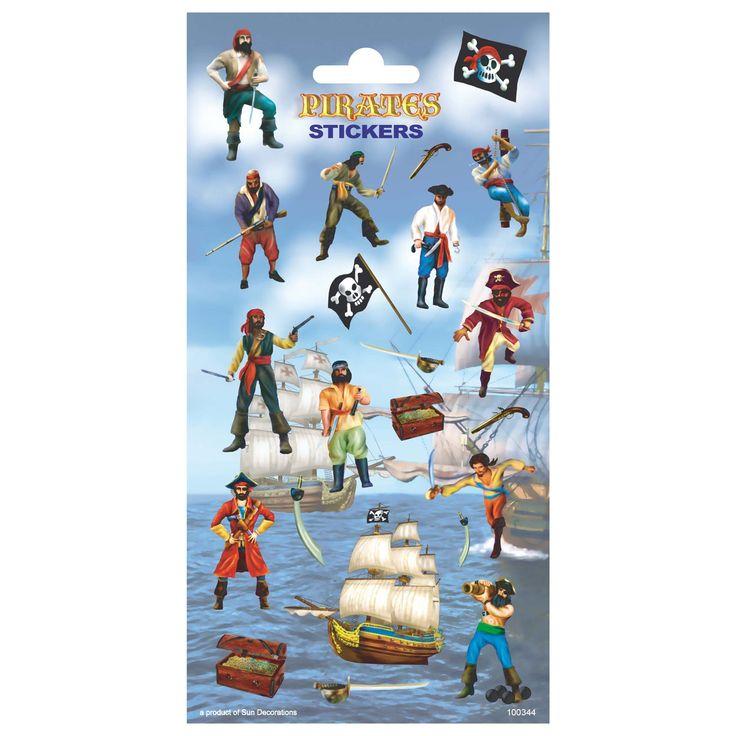 Stickervel met 21 stickers van stoere piraten, vlaggen en schatkisten. Afmeting: stickervel 10 x 20 cm - Stickervel Piraatjes