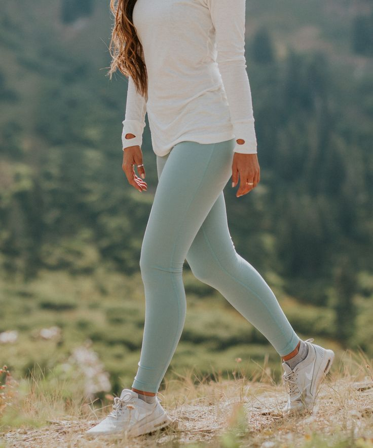 {Go Long Crew, Ivory + NEW Go Soft Legging, Millcreek Blue} | @albionfit