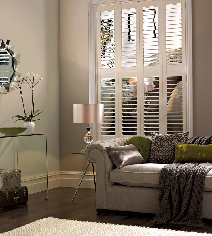 Combining elegance with the durability -Silver mirror Shutters.  #shutters #luxaflex #home decor